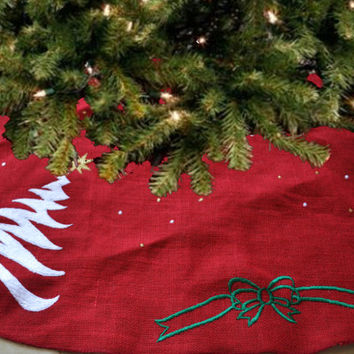 Christmas Tree Skirt Burlap Embroidered Christmas Holiday Decoration Multiple Sizes Holiday Season Santa Claus Red Gold Green White Handmade