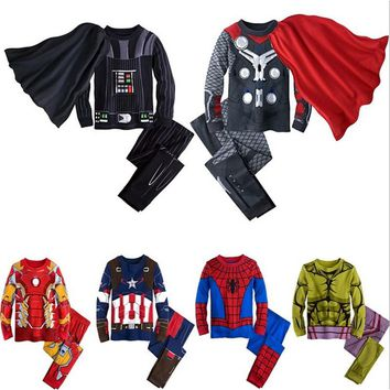Marvel's The Avengers Cosplay Thor Supermen Spidermen Super Hero Iron Man Halloween Party Costumes for Kids Winter Clothes