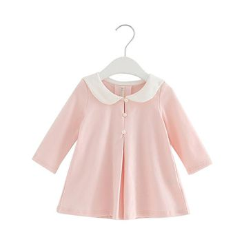 2017 Pearls Autumn A-line Kids clothes Girls long-sleeved Girls baby dress kids clothing dress children's dress 0-2T 3 Color