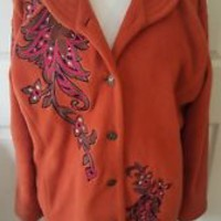 Bob Mackie Wearable Art Fleece Orange Embroidered Floral Jacket SZ L large