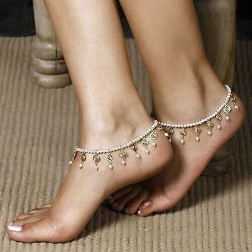 Foot Pearl Bead Jewelry Anklet Chain Tassel