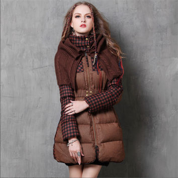 Vintage Warm Women Down Coat Winter Classical Poncho Plaid Patchwork Warm Coat White Duck Jacket For Women Winter Thicken Coats