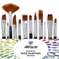 Face Paint Brush Set by ARTacts--A Set of 12 Premium Quality Face Painting Brushes That Are Soft, Hold Paint And Great For Using Watercolor, Oil, And Acrylic Paints.