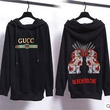 GUCCI Hooded Fashion Long Sleeve Top Sweater Hoodie Sweatshirt Black