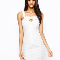 Lipsy Body-Conscious Dress with Bow Front - Cream