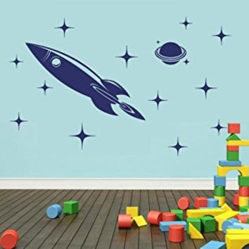 Wall Decal Vinyl Sticker Decals Art Decor Design Rocket Moon Stars Kids Children Funny Nursery Beedroom Gift Play room (r419)