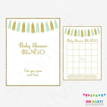 Baby Shower Bingo, Mint and Gold Baby Shower Games, Baby Bingo Game Sign, Baby Shower Printable, Mint Gold Tassels, Instant Download, TASMG