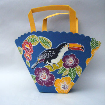 Tropic Floral Toucan Paper Tote Bag Supply Shopping Carry All Gift Bag Wrap Handbag Retro 1980s