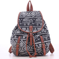 Elephants Print Canvas Backpack for Women & Girls Boys Casual Book Bag Sports Daypack