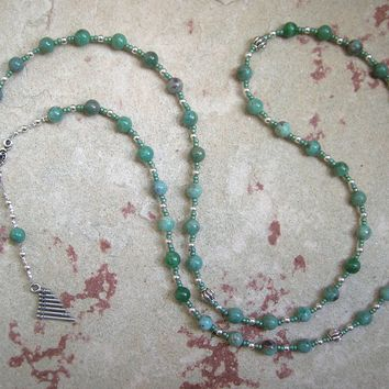 Pan Prayer Bead Necklace in Green Agate: Greek God of the Forest, Mountains, Country Life