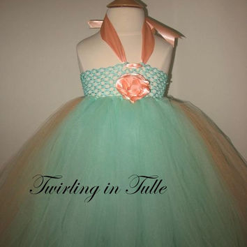 Mint Green and Peach Tulle Flower Girl Dress  Size 2-4T