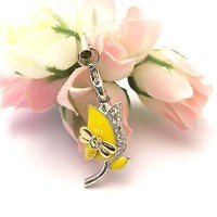 Yellow Tulip Cell Phone Charm Strap Cubic Stone