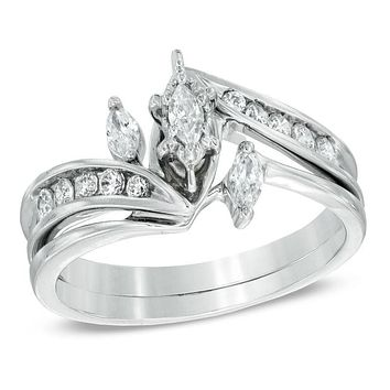 1/2 CT. Marquise Diamond Three Stone Bridal Engagement Ring Set in 14K White Gold