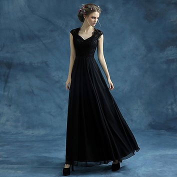 Elegant Lace Dress/Black Prom Dress /Bridesmaid Dress V-neck dress/black dress