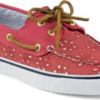 Sperry Top-Sider Bahama Eyelet 2-Eye Boat Shoe WashedRedEyelet, Size 7M  Women's Shoes