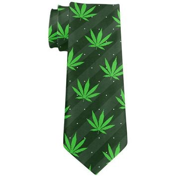 DCCKU3R Pot Leaf In Your Face Green Stripes Pattern All Over Neck Tie