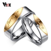 """Vnox """"love forerver"""" Wedding Rings for Women Men AAA CZ Stone Gold-color Couple Promise Band Alliance Bijoux"""