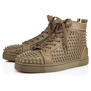Sale Christian Louboutin Cl Louis Spikes Men's Flat Poivre Vert Leather 09w Shoes 1101083e082