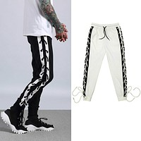 Men's Streetwear Retro Sweatpants Hip Hop White Black Loose Pants Unisex Side Cross Pants Joggers Male