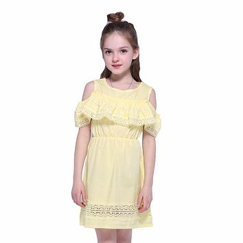 Big Girls Dresses for Princess Off Shoulder Summer Dresses  Kids Short Sleeve Wedding Party Lace Dresses