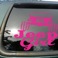 "Jeep Girl Pink- Die Cut Vinyl Window Decal/sticker for Car or Truck 5"" X 5"""