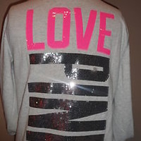 "Victoria's Secret Pink bling Hoodie  w sequence SILVER & Hot Pink ""Love Pink""NWT on eBay!"