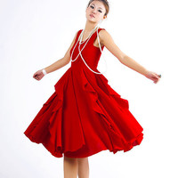 Charming red linen dress Size M ready ship order by xiaolizi