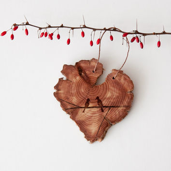 Wood Burned Lovebirds on Cedar Heart.  Woodland Animal Ornament or wall hanging