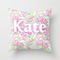 Custom name pillow cover, floral pink and green word art cushion, childrens home decor cushion, girls bedroom soft furnishing
