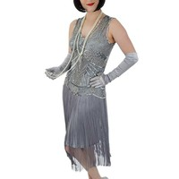20s Style Silver Bead Sequin Fringed Anita Flapper Dress