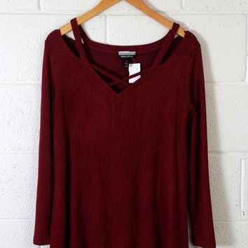 Long Sleeved Rib Knit Top, Burgundy