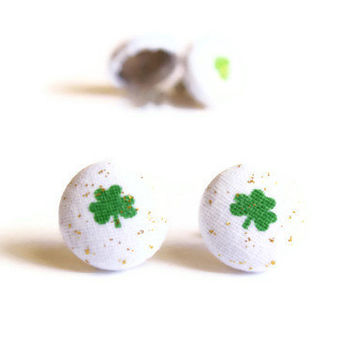 St. Patrick's Day Clover Print with Specks of Gold Glitter Fabric Covered Button Earrings - Choose from Green or Light Green