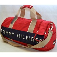 Tommy Hilfiger Red and Blue Large Duffel/Travel Bag at OrlandoTrend.com
