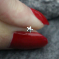 Star Tragus Earring, Starfish Nose Stud, Tiny Tragus Stud, Nose Ring, 20 Gauge, Nose Ring, Silver Nose Bone, Tiny Cartilage Earring
