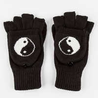 Yin Yang Foldover Fingerless Gloves Black One Size For Women 26403210001