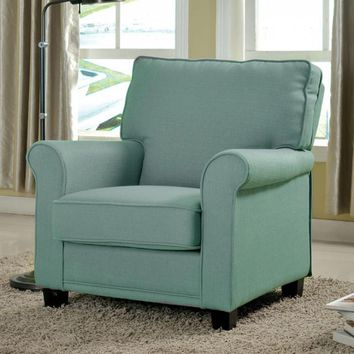Belem Transitional Accent Chair With blue Flax Fabric