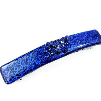Hair Barrette - Dichroic Glass Etched Blue Circles with Glass Droplets - XL Snap Clip
