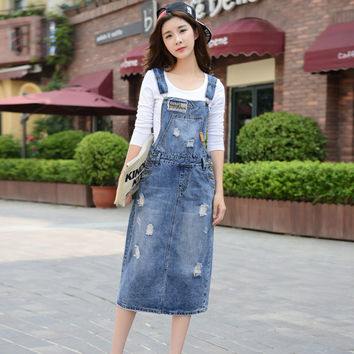 Summer Ladies' Sleeveless Fashion Denim Solid Overalls Dress With Pockets Single Breasted Jeans Casual Dresses For Women