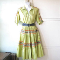Light Chartreuse Patio Dress; Women's Medium Vintage Squaw/Southwest/Fiesta/Square Dance Fit/Flare Dress; Flawed; Adorable