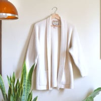 vintage ivory oversized cardigan sweater // 90s lambswool and angora slouchy sweater