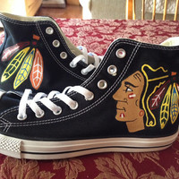 Womens Chicago Blackhawks Converse - Hand Painted