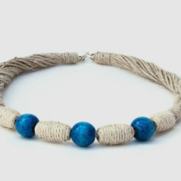 Hemp Necklace With Blue Beads. Weaving Eco Jewelry Handmade. Unique Necklace For Women. Mom/Mothers Necklaces. ThreeSnails. Free Shipping!