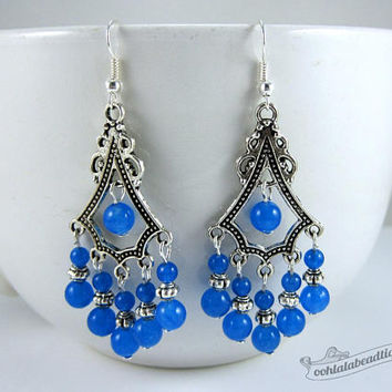 Blue statement earrings blue earrings birthstone jewelry boho earrings gypsy long earrings hippie chandelier earrings agate gift for wife