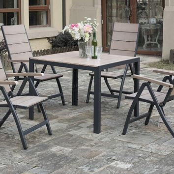 5 pc Liz Kona collection aluminum frame and PE resin wood patio table and folding chair set