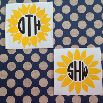 Sunflower Monogram Decal  | Sunflower Car Decal | Sunflower Cup Decal | Preppy Decal | Preppy Monograms | Country Decals | Prep