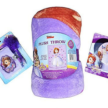 Sophia the First Bedding Fleece Plush Throw Slumber Party Set with Diary Book and Lock and Night Light