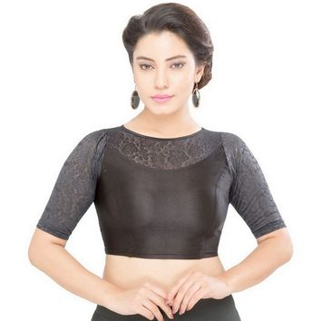 Saris and Things Black Strech Lycra Stretchable Saree Blouse Crop Top A-31-black