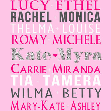 Best Friend Gift, Custom Birthday Gift - 8x10 Art Print, Glitter Letters, Names, Famous Friends, Pairings, Pink, Silver, Girlie, BFF, Bestie