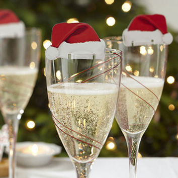 2016 New Christmas Decorations Hats 10pcs/lot Champagne Glass Decor Paperboard Noel Decoration Navidad