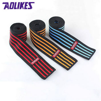 AOLIKES 2 Pcs/lot 180*8 CM Weight Lifting Elastic Knee Bandages Leg Compression Calf Support Wraps Sports Squats Training